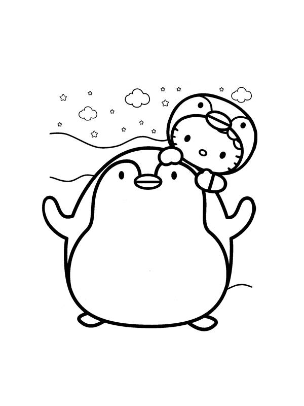 Free coloring and drawings Hello kitty penguin Coloring page