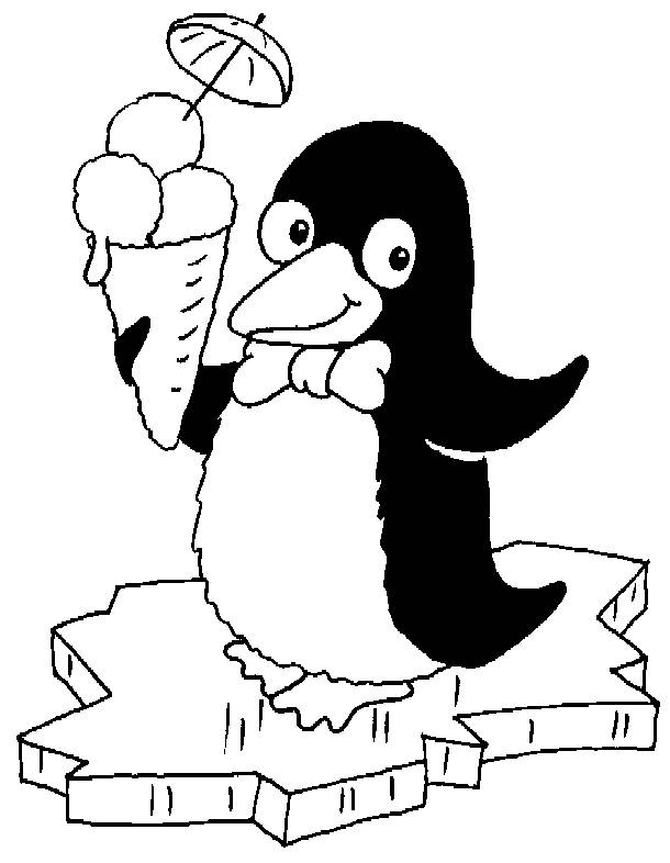Free coloring and drawings Penguin eats ice cream Coloring page