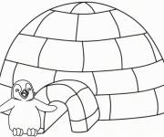 Coloring pages Penguin in front of his house