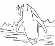 Coloring pages Penguin peach
