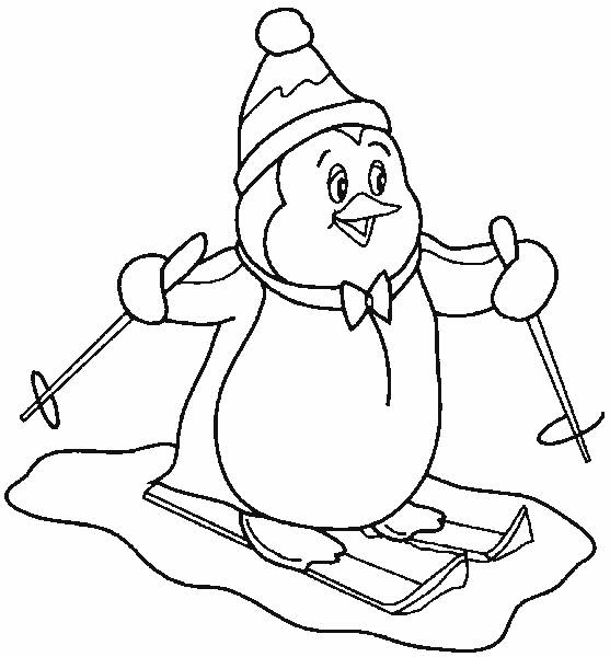 Free coloring and drawings Penguin skiing Coloring page