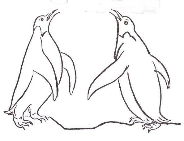 Free coloring and drawings Penguins communicate Coloring page