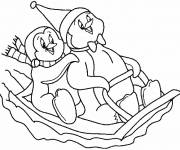 Coloring pages Penguins playing on the snow