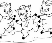 Free coloring and drawings Dancing pigs Coloring page