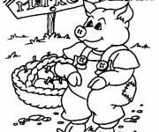Free coloring and drawings Farmer pig Coloring page