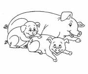 Free coloring and drawings Mother Pig and her cubs Coloring page