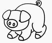 Free coloring and drawings Shy pig Coloring page