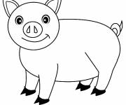 Free coloring and drawings Stylized pig Coloring page