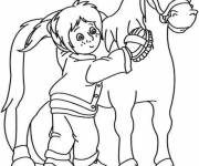 Coloring pages A girl takes care of Pony