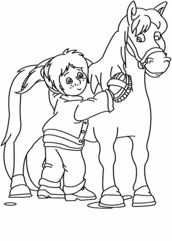 Free coloring and drawings A girl takes care of Pony Coloring page