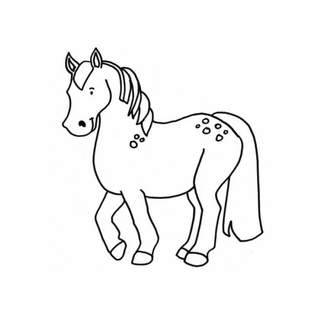 Free coloring and drawings Easy pony Coloring page