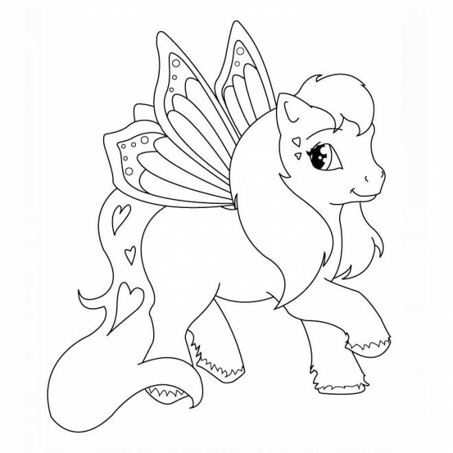 Free coloring and drawings Flying pony Coloring page