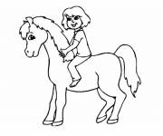Free coloring and drawings Little girl and Pony Coloring page