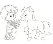 Free coloring and drawings Pony and child Coloring page