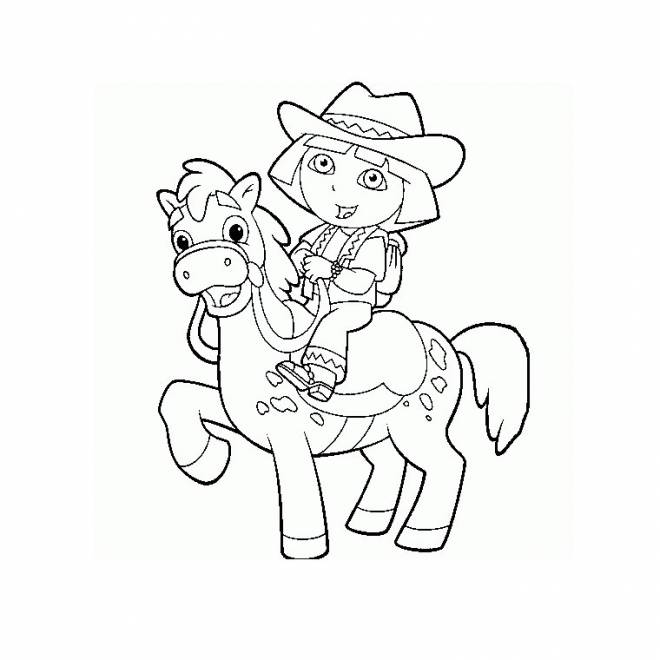 Free coloring and drawings Pony and Dora Coloring page