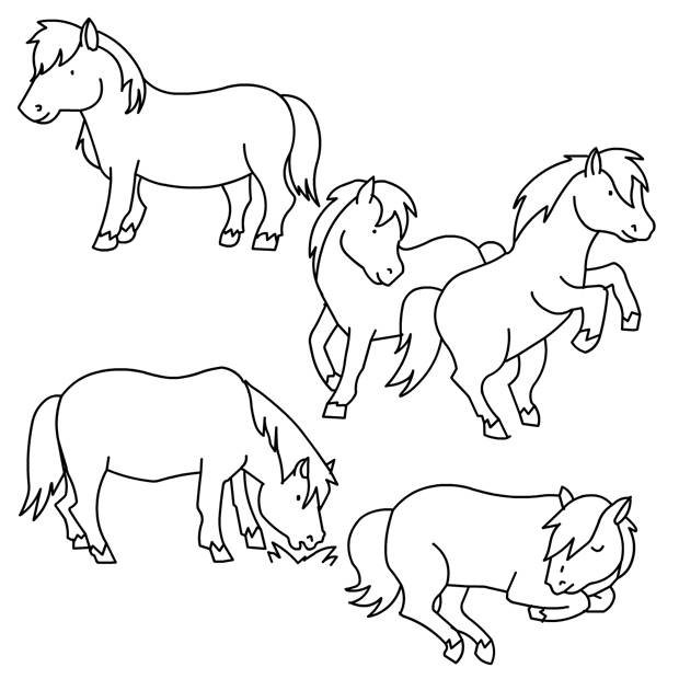 Free coloring and drawings Pony and horses Coloring page