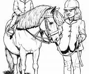 Free coloring and drawings Pony and little rider Coloring page