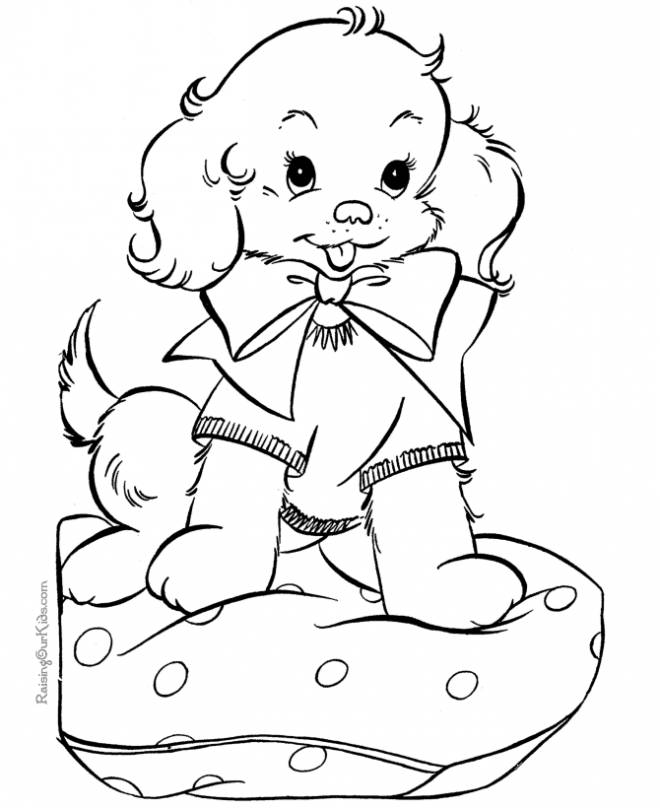 Free coloring and drawings Easy cute puppy Coloring page