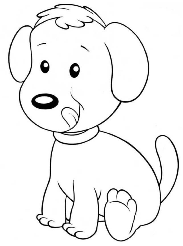 Free coloring and drawings Easy dog Coloring page