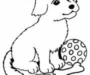 Free coloring and drawings Puppy and his toys Coloring page