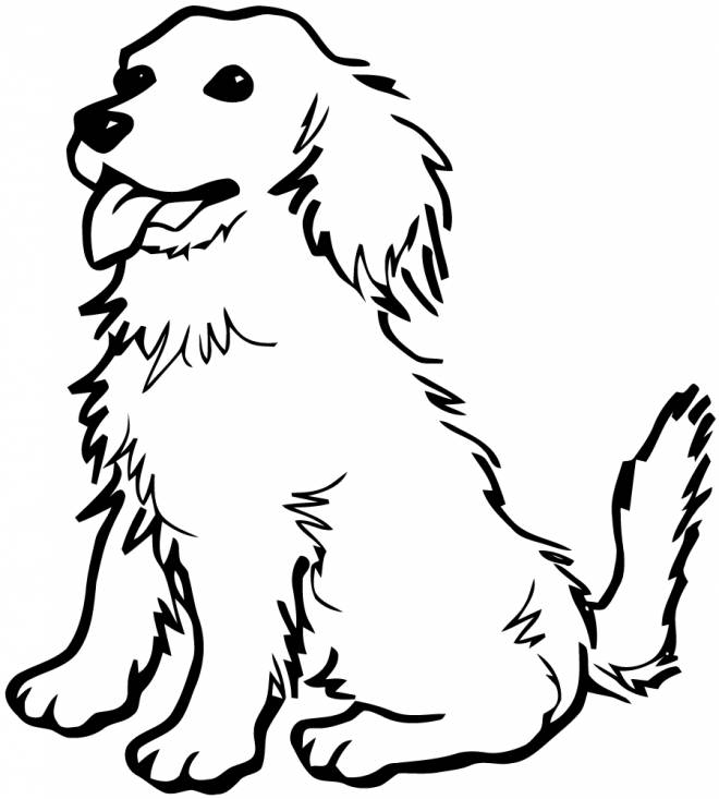 Free coloring and drawings Puppy sitting Coloring page