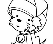 Coloring pages Puppy wearing Santa hat