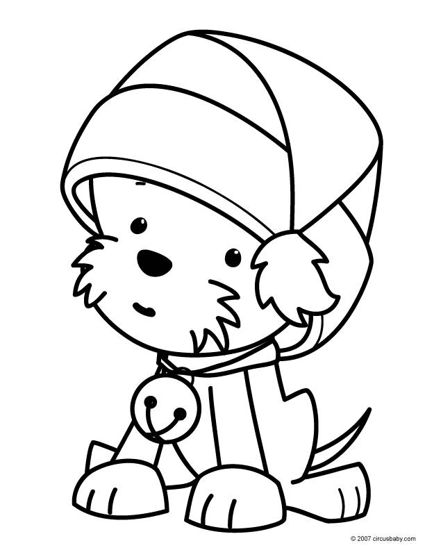 Free coloring and drawings Puppy wearing Santa hat Coloring page