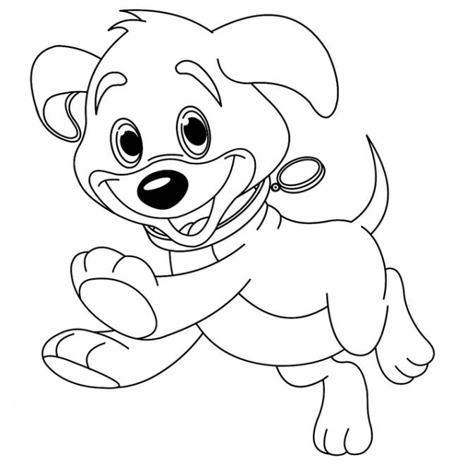 Free coloring and drawings Puppy with bright eyes Coloring page