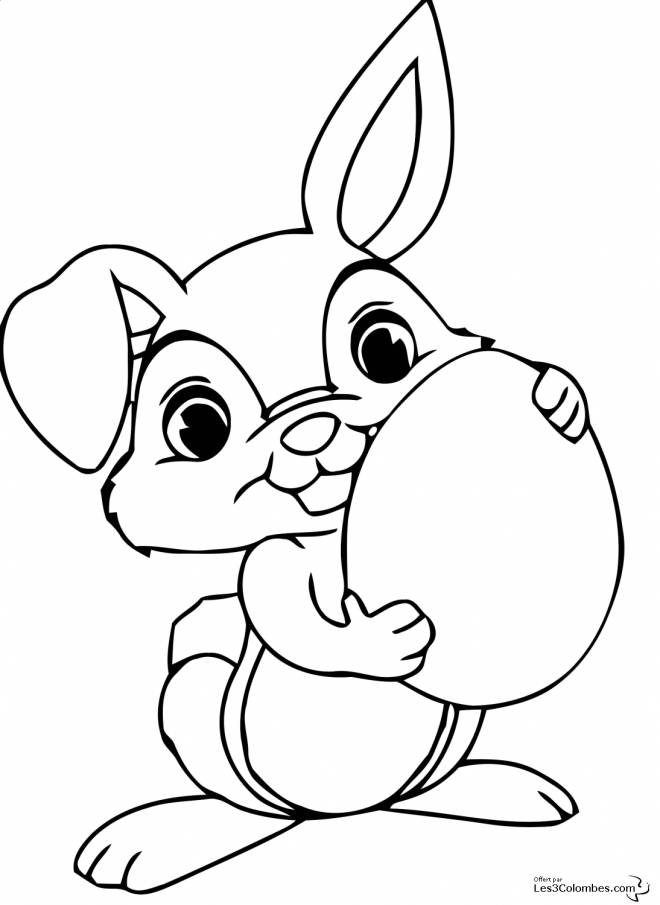 Free coloring and drawings Cute rabbit carries an egg Coloring page