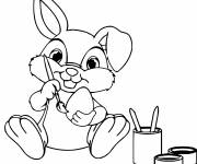 Coloring pages Rabbit Decorating the Egg