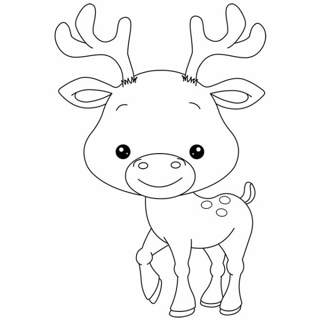 Free coloring and drawings Little Reindeer smiling Coloring page