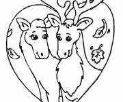 Coloring pages Reindeer in love