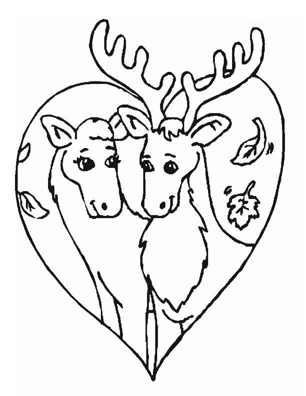 Free coloring and drawings Reindeer in love Coloring page