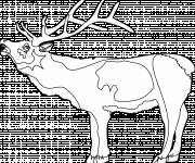 Coloring pages Reindeer opening its mouth