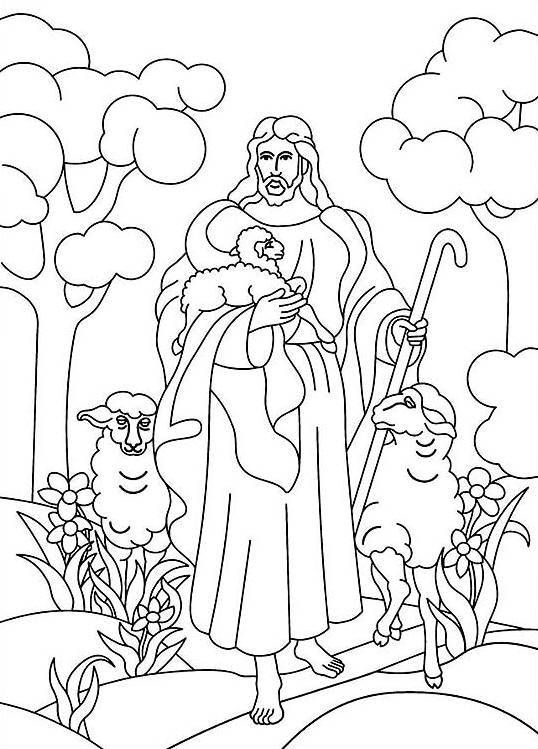 Free coloring and drawings Sheep Jesus Coloring page