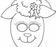 Free coloring and drawings Sheep mask Coloring page