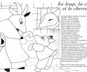 Free coloring and drawings The Wolf The goat and The Goat Coloring page