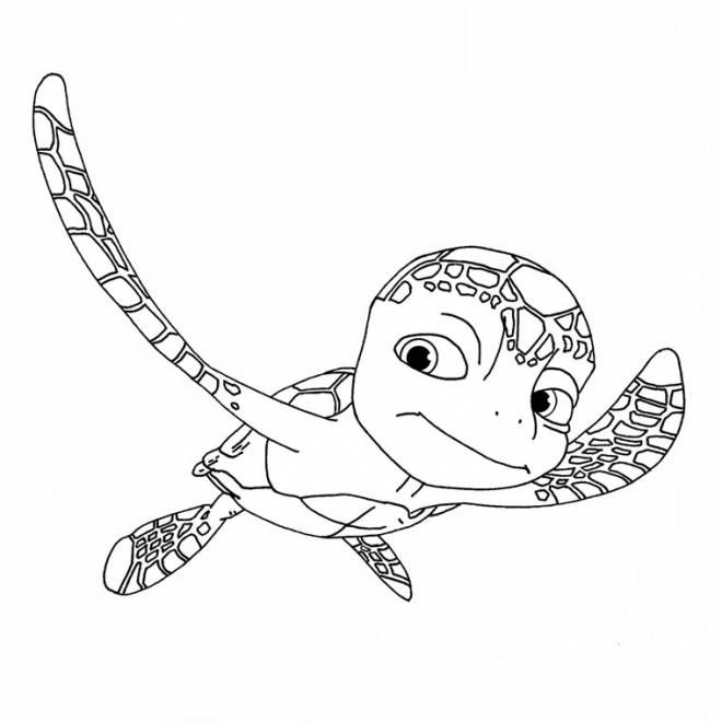 Free coloring and drawings Sea turtle swimming Coloring page