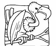 Coloring pages Vulture on the tree