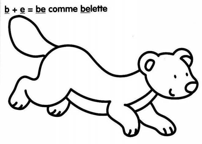 Free coloring and drawings Weasel and Letters Coloring page