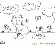Coloring pages Weasel in love