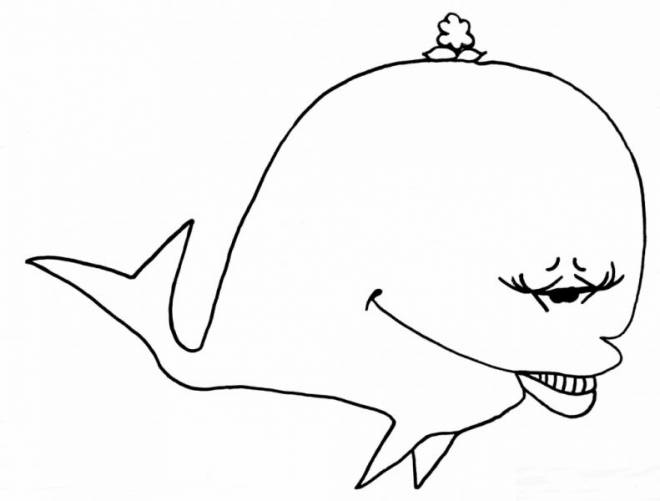 Free coloring and drawings Funny whale Coloring page