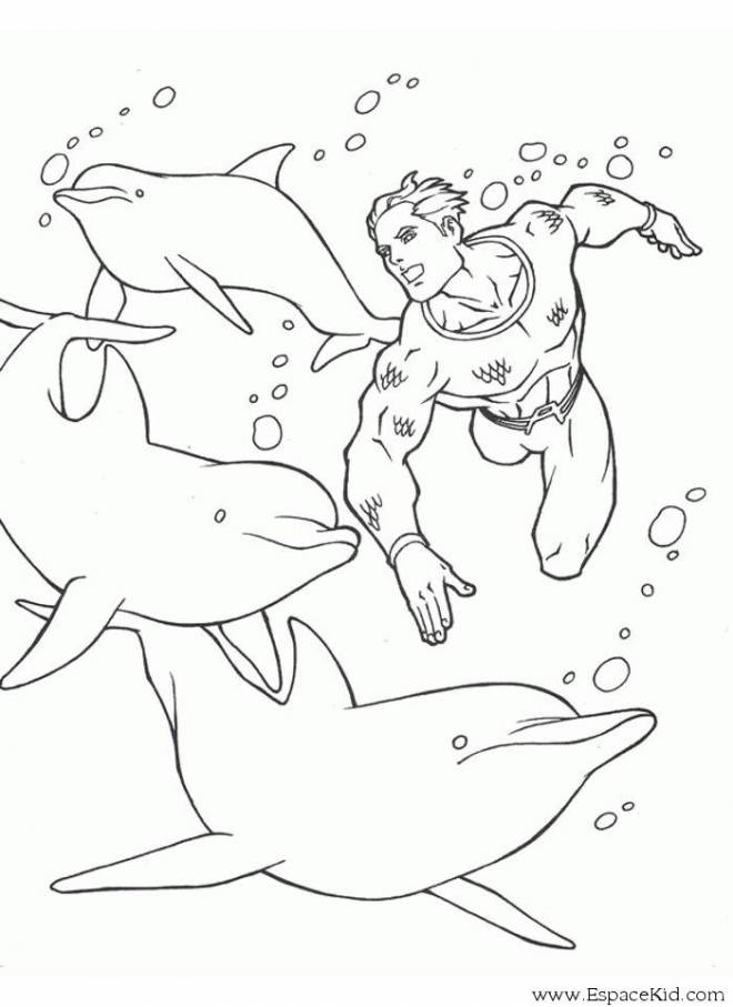 Free coloring and drawings Superman and the Dolphins Coloring page