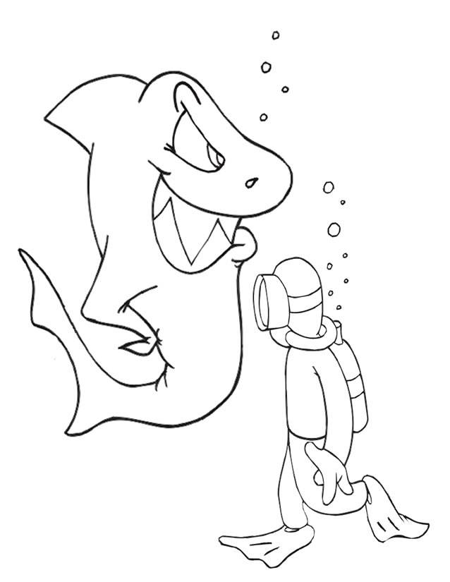 Free coloring and drawings The Smart Shark Coloring page