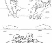 Free coloring and drawings Whale and children Coloring page