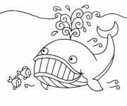 Free coloring and drawings Whale and small fish Coloring page
