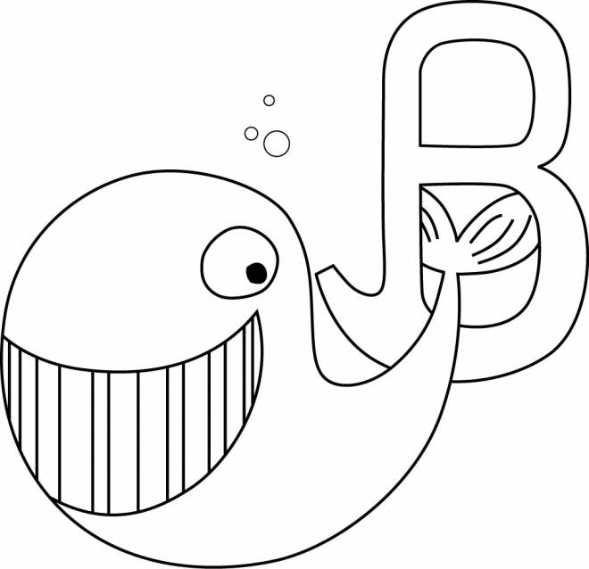 Free coloring and drawings Whale and the letter B Coloring page