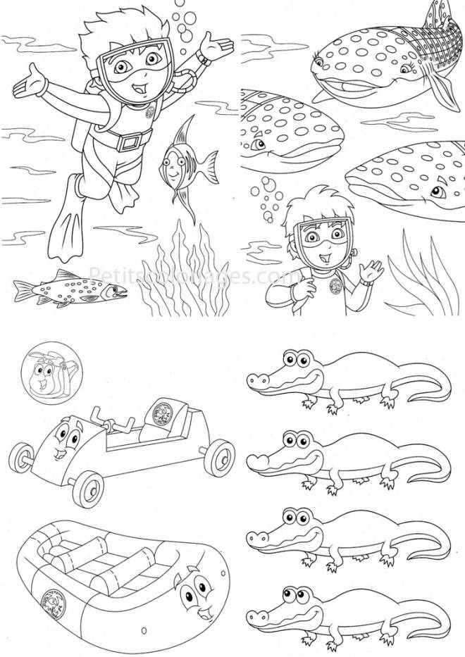 Free coloring and drawings Whale and the Little Diver Coloring page