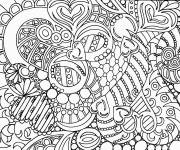 Coloring pages Adult Anti-stress Stylized Hearts