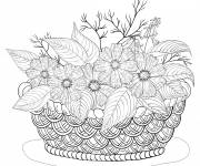 Coloring pages Adult Basket of Flowers